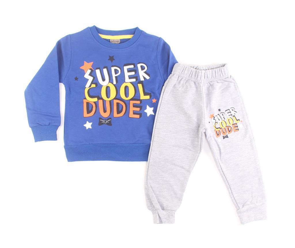 Set bluza cu maneca lunga si pantaloni copii Super Cool Dude Blue 5 ani