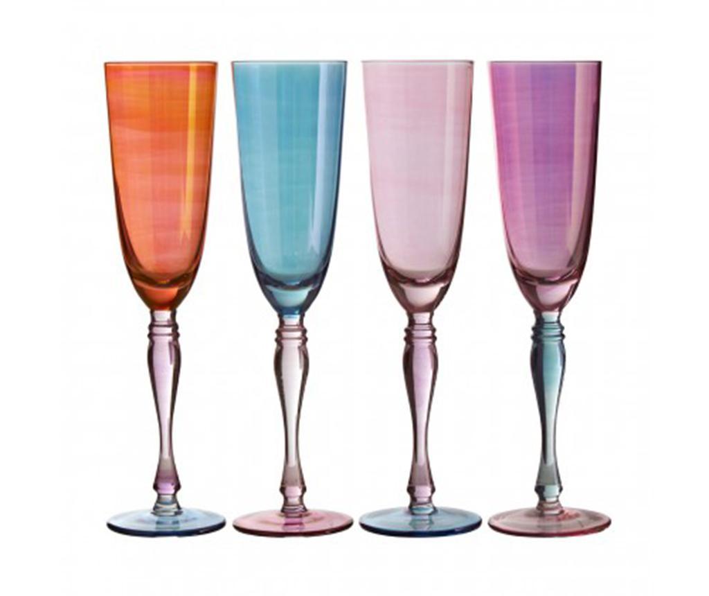 Set 4 pahare pentru sampanie Aurora Pastel 273 ml - Premier, Multicolor imagine