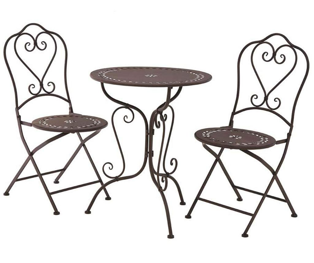 Set masa si 2 scaune pliabile pentru exterior Finchwood Brown vivre.ro