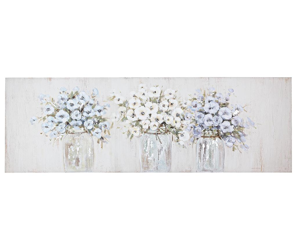 Tablou Jar Flowers 50x150 cm - Bizzotto, Multicolor imagine