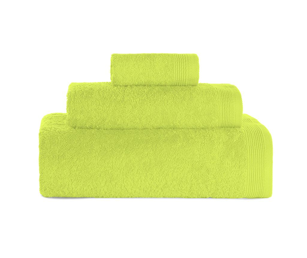 Set 3 prosoape de baie Delta Lime Green - ABECE, Verde imagine
