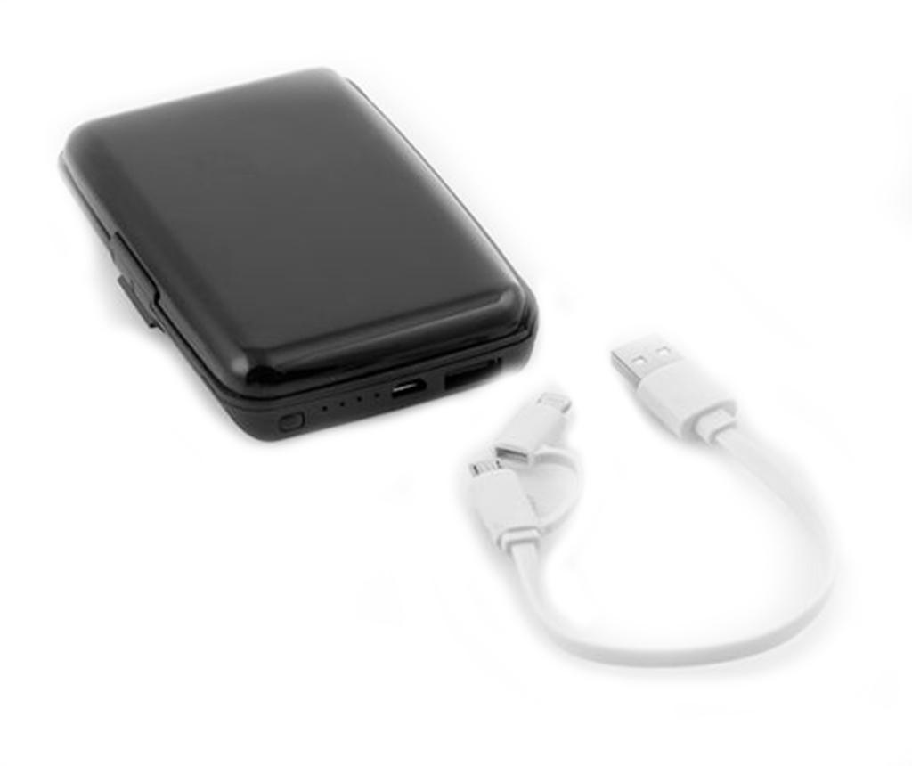 Suport pentru carduri cu baterie externa pentru smartphone InnovaGoods Security - InnovaGoods, Negru