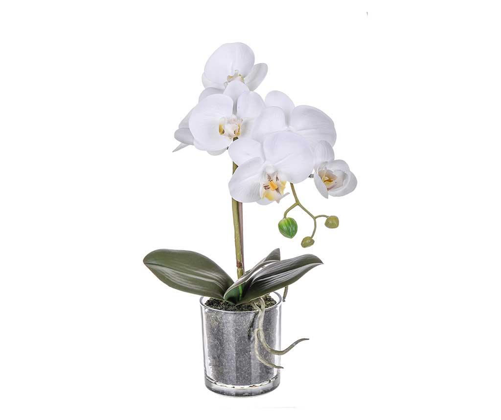 Floare artificiala in ghiveci Phalaenopsis White S