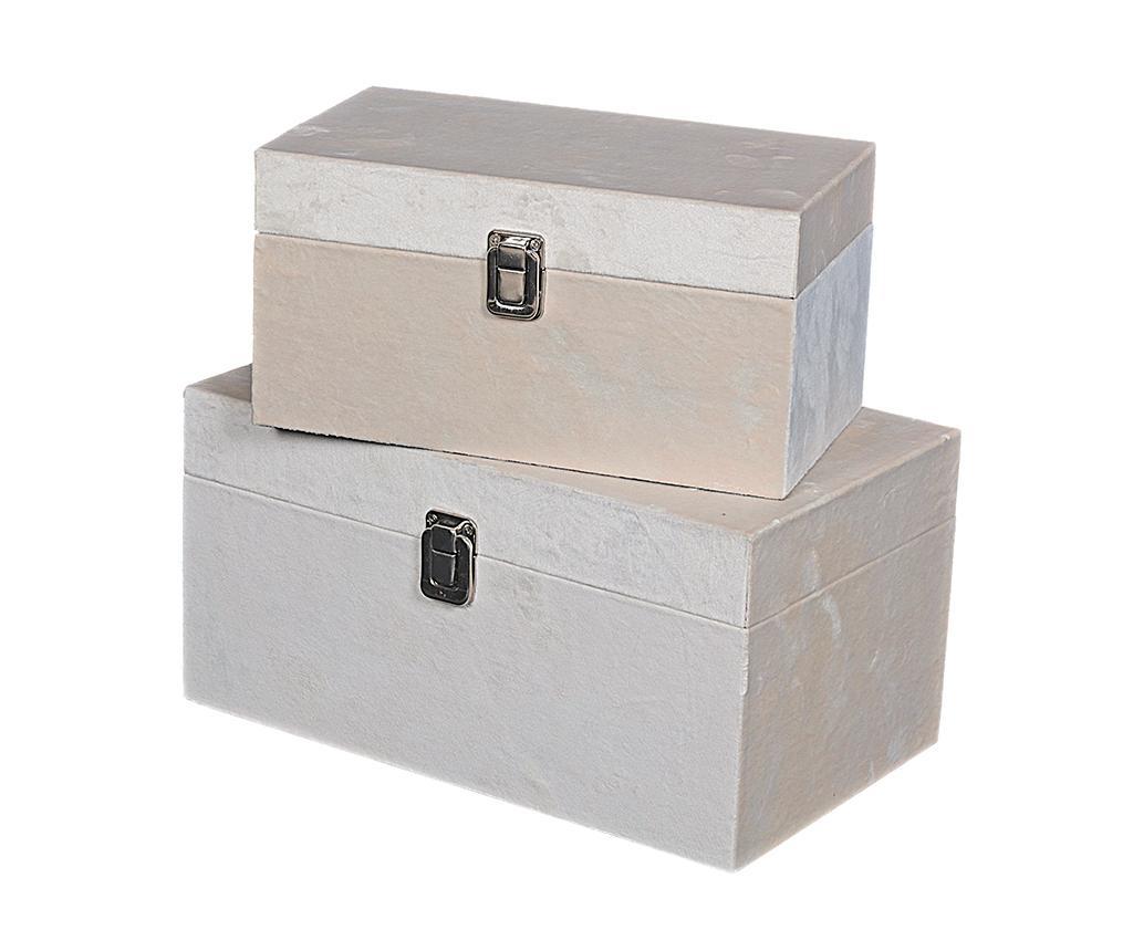 Set 2 cutii cu capac Petra Beige imagine