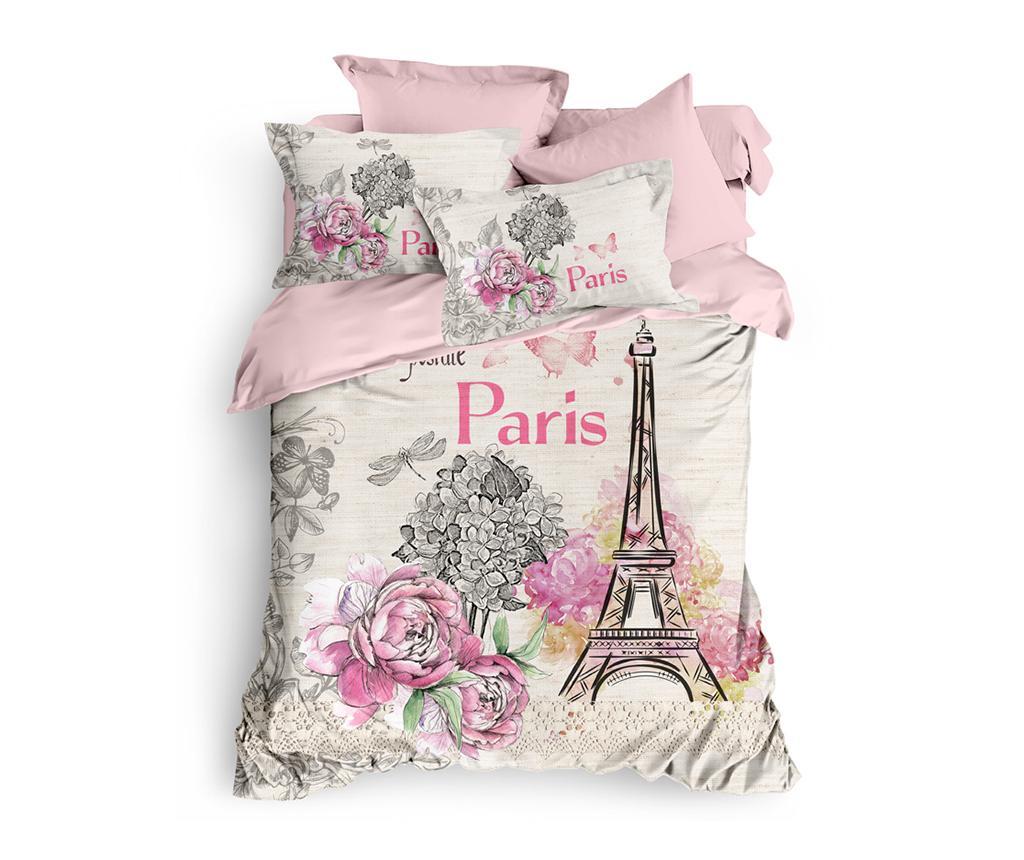 Lenjerie de pat King Ranforce Retro Paris - The Club Cotton, Multicolor poza noua