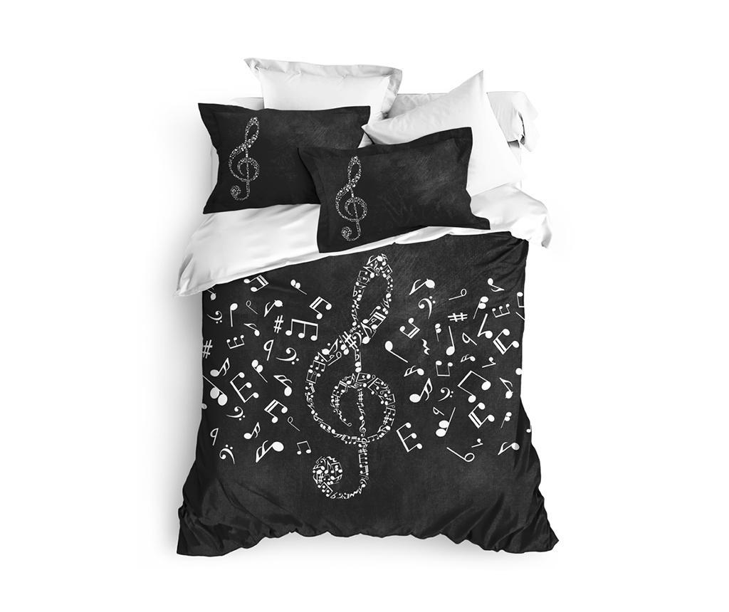 Lenjerie de pat King Ranforce Musicol - The Club Cotton, Negru imagine