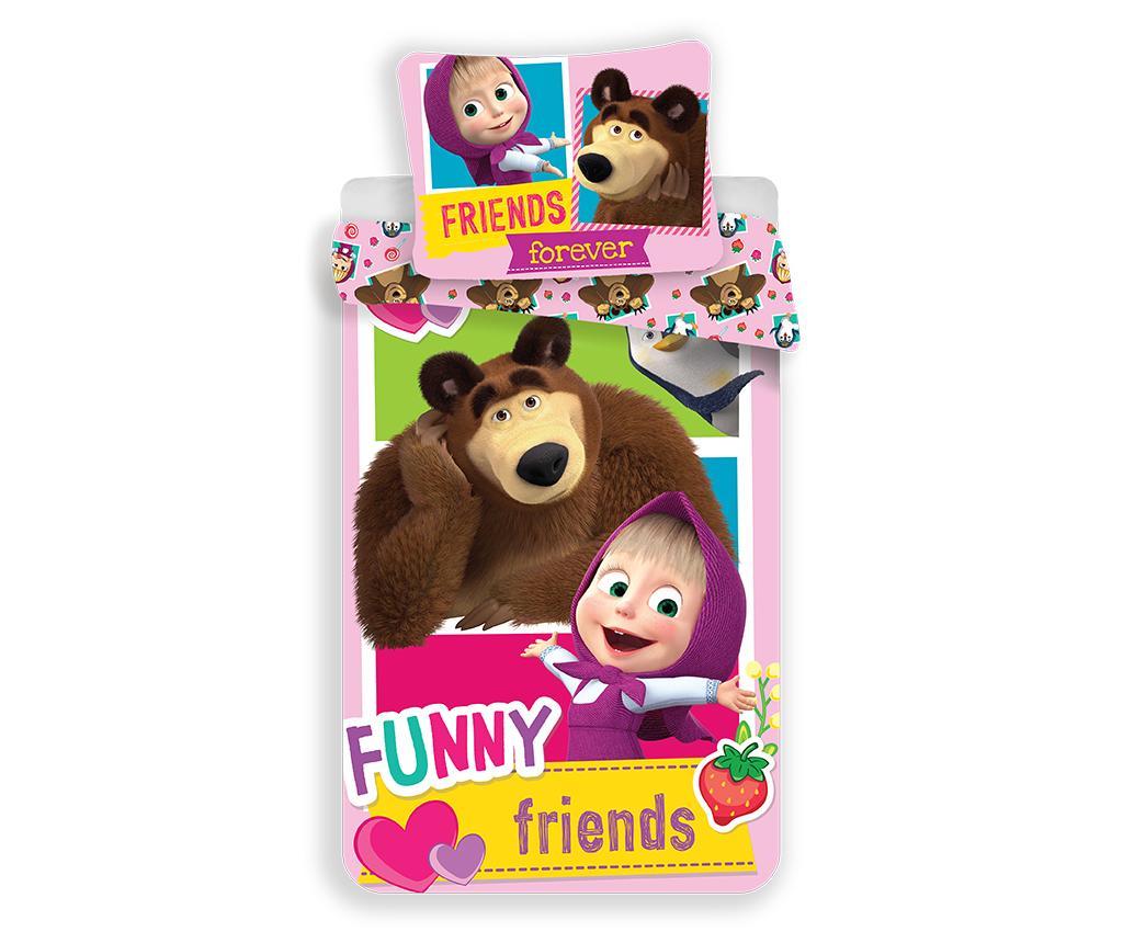 Set de pat Single Ranforce Masa and the Bear Friends