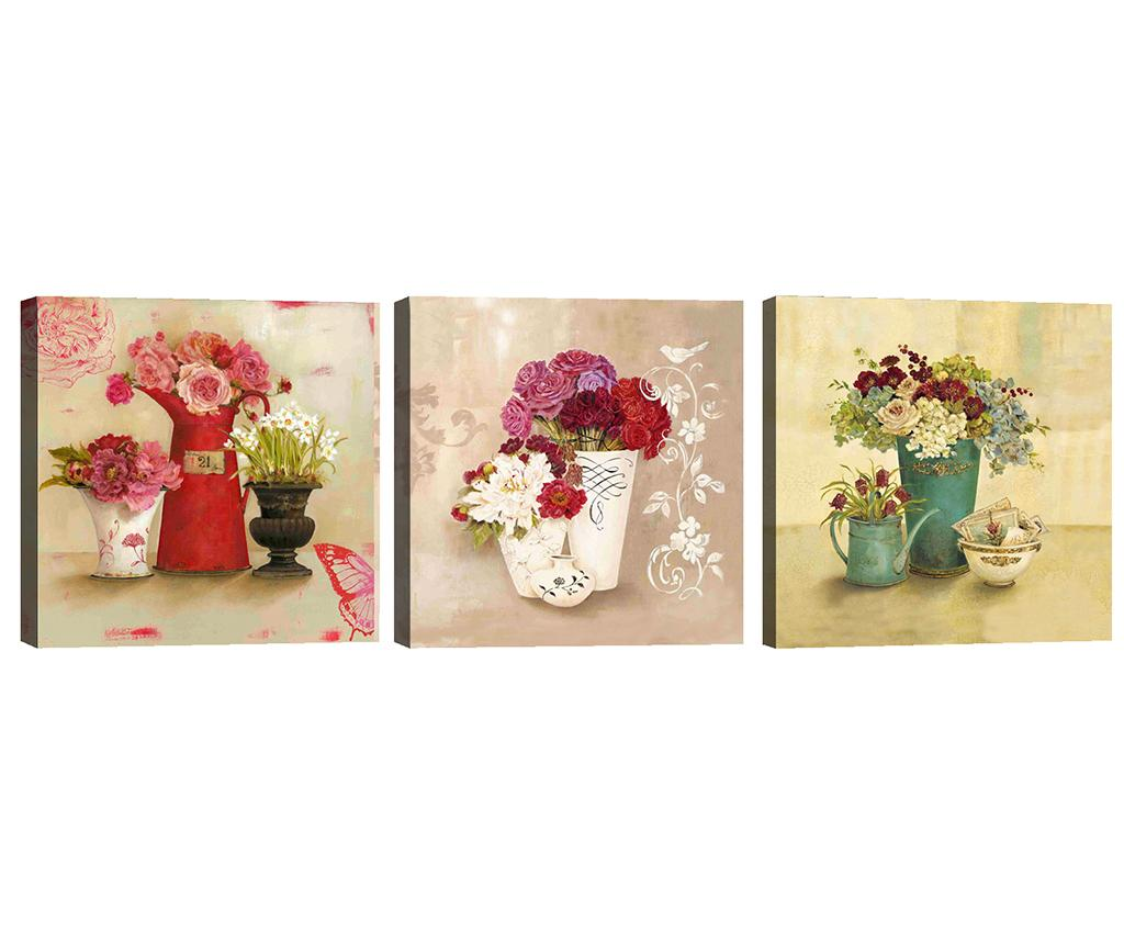 Set 3 tablouri Flower Vases 30x30 cm - Tablo Center, Multicolor imagine