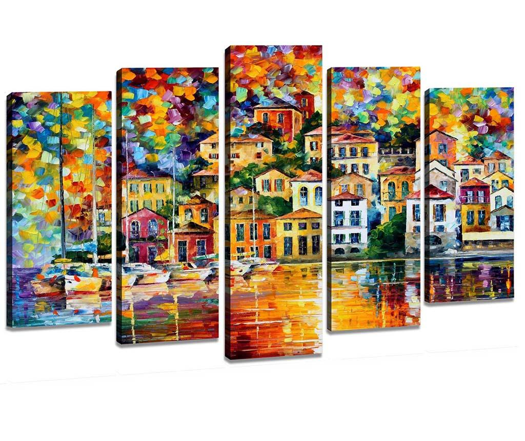 Set 5 tablouri Bright Houses - Tablo Center, Multicolor imagine