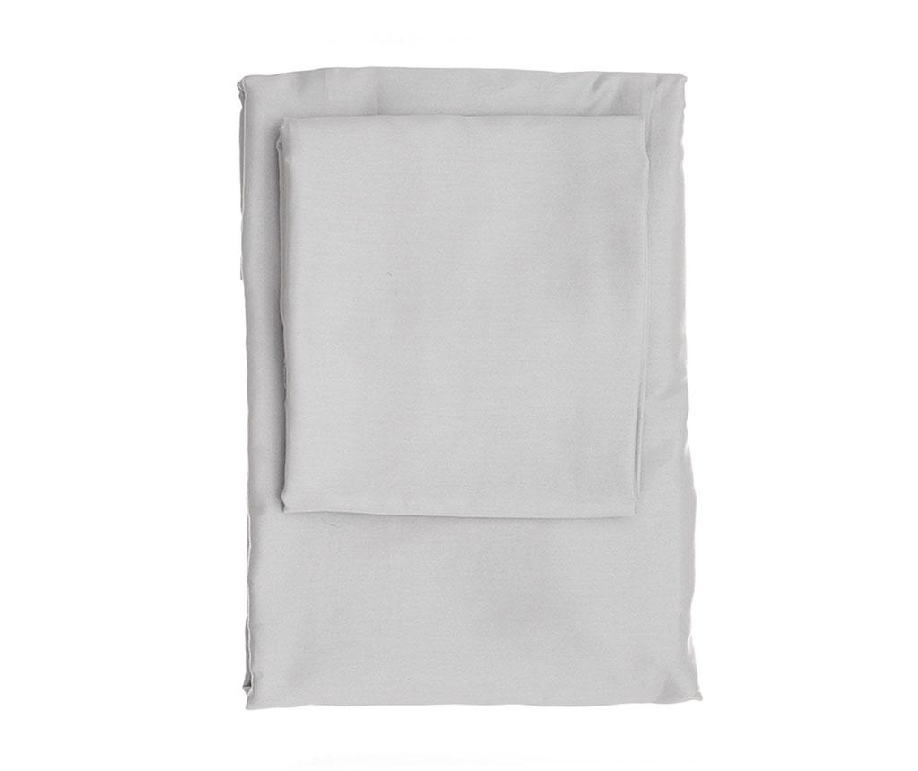 Cearsaf de pat cu elastic Dena Light Grey Satin 160x200 cm - Patik, Gri & Argintiu imagine