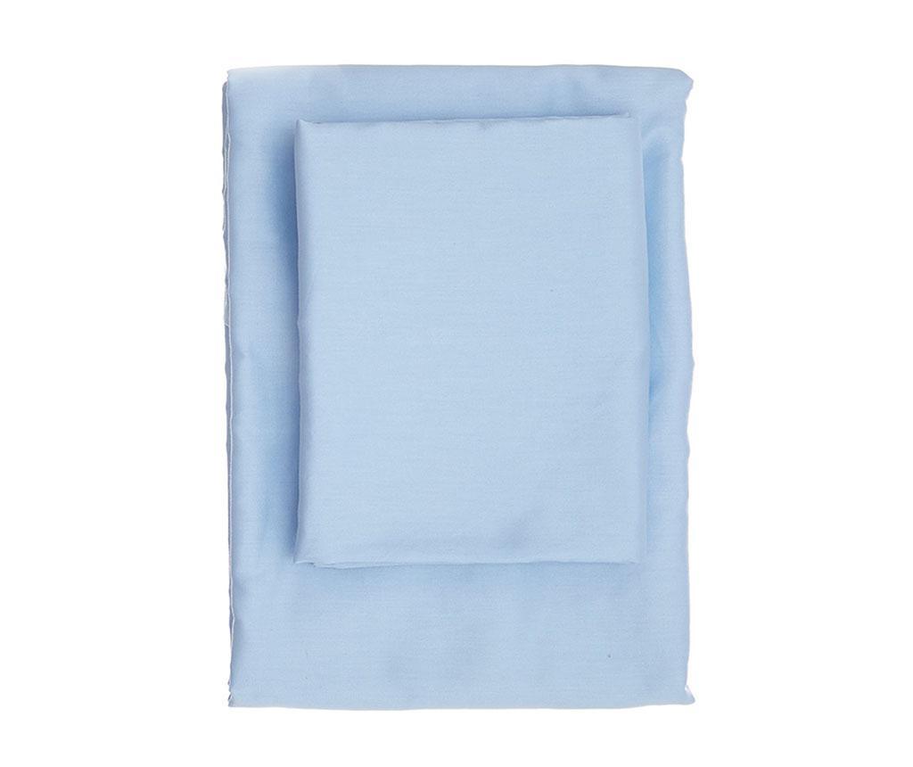 Cearsaf de pat cu elastic Dena Blue Satin 180x200 cm imagine