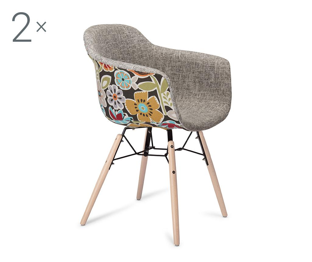 Set 2 scaune Flame Grey and Red - Furnhouse, Gri & Argintiu,Maro imagine