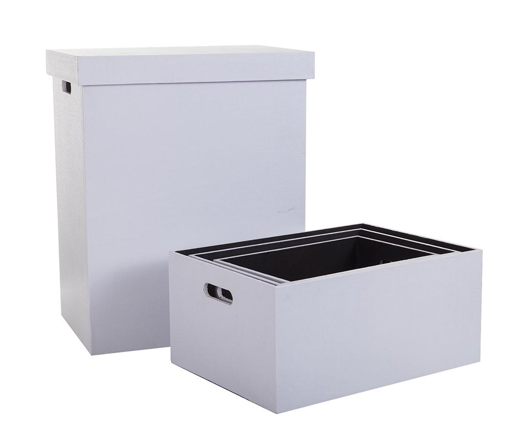 Set cos cu capac pentru rufe si 3 cutii pentru depozitare Plain - Creaciones Meng, Alb