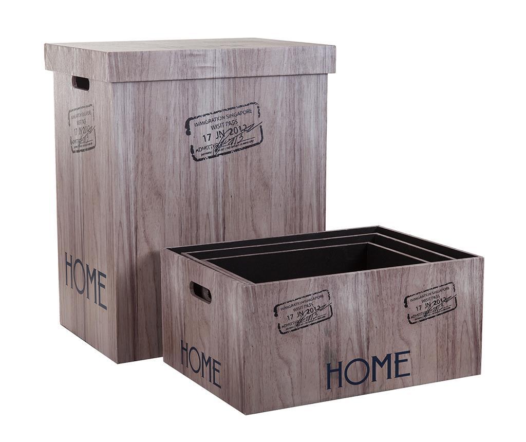Set cos cu capac pentru rufe si 3 cutii pentru depozitare Home - Creaciones Meng, Maro poza