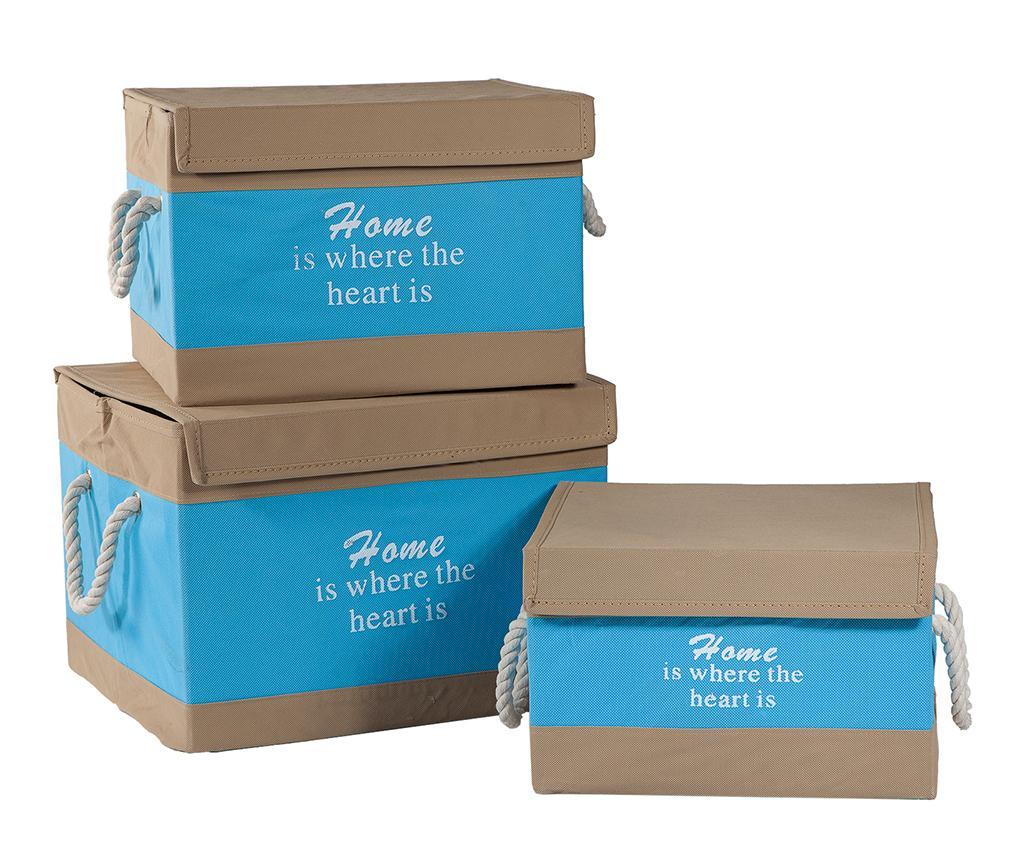 Set 3 cutii cu capac pentru depozitare Deluxe Home - Creaciones Meng, Albastru