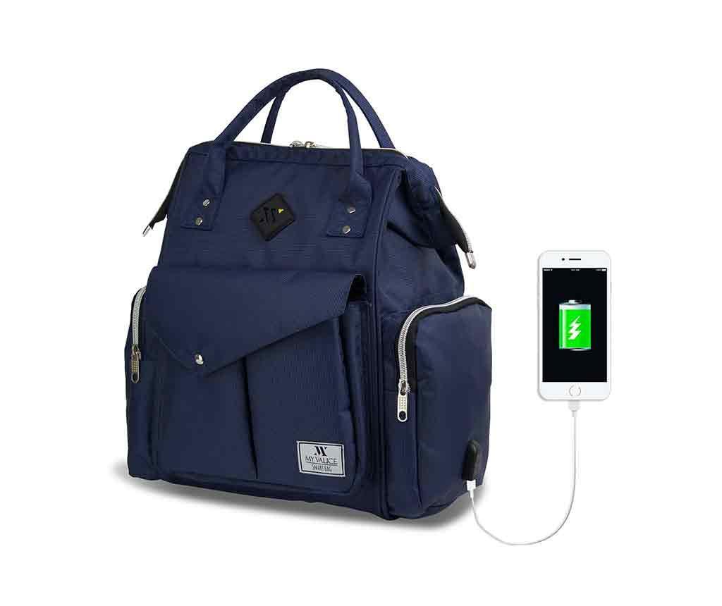Geanta pentru scutece USB Barry Dark Blue - MyValice, Albastru imagine vivre.ro