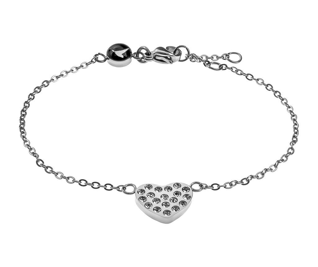 Bratara Inlaid Heart Silver - Emily Westwood, Gri & Argintiu imagine