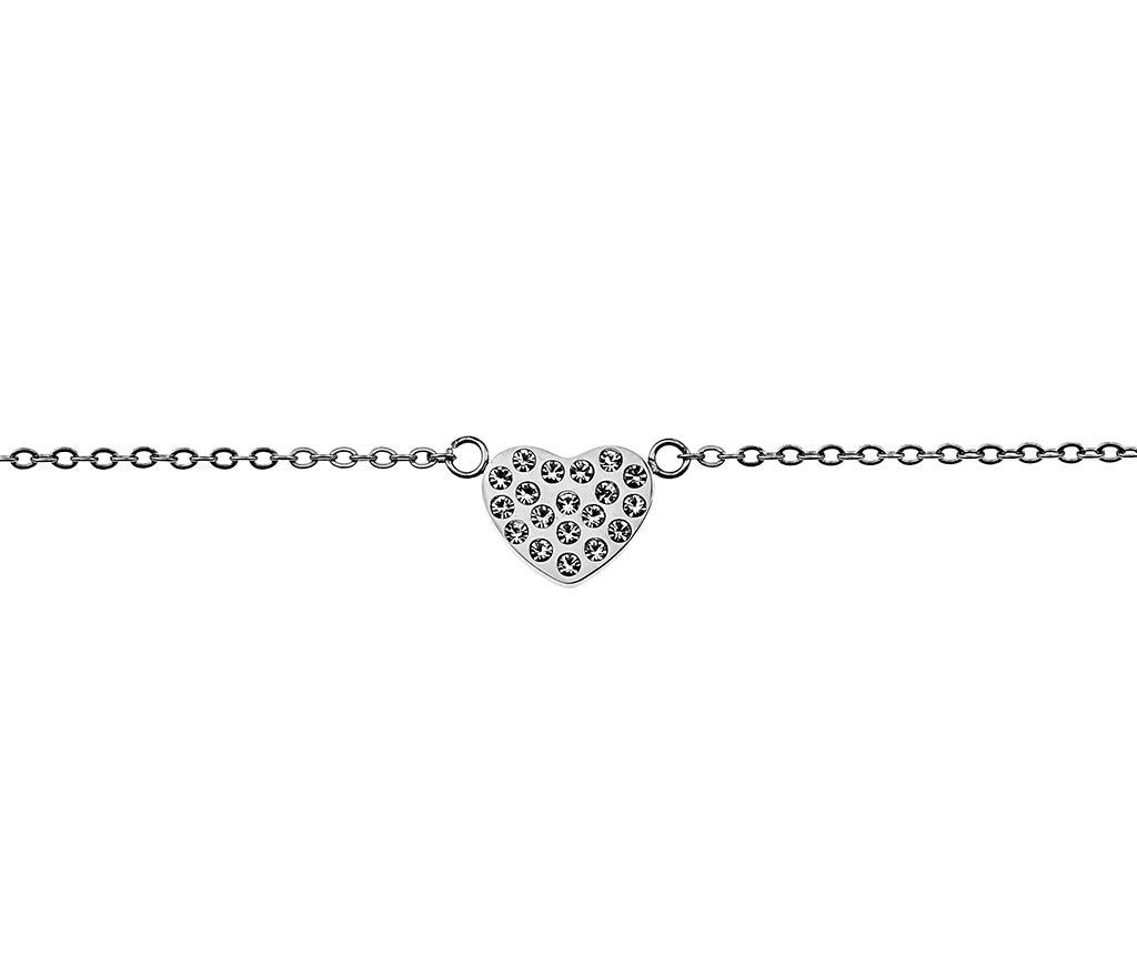 Bratara Inlaid Heart Silver
