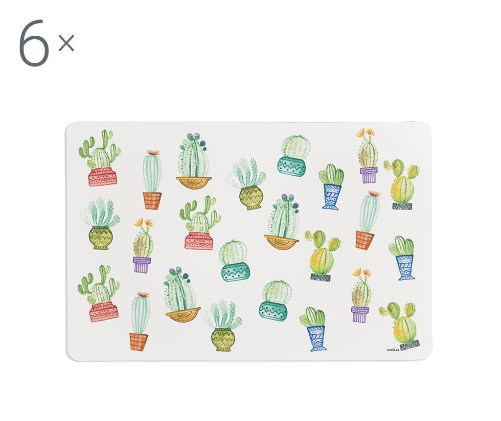 Set 6 suporturi farfurii Cactus 28.5x43 cm - Excelsa, Alb,Verde