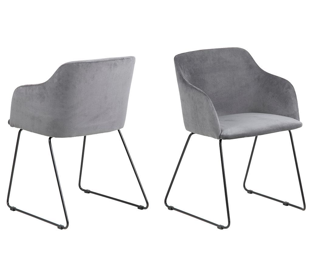 Set 2 scaune Casablanca Grey - actona, Gri & Argintiu poza