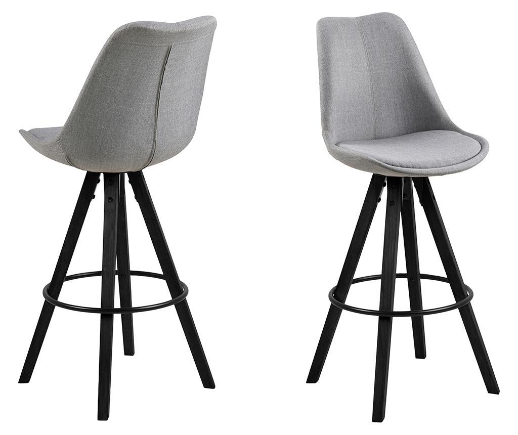 Set 2 scaune de bar Dima Grey Black - actona, Gri & Argintiu,Negru imagine