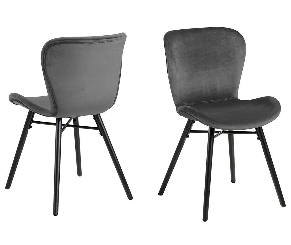 Set 2 scaune Batilda Velvet Dark Grey - actona, Gri & Argintiu imagine