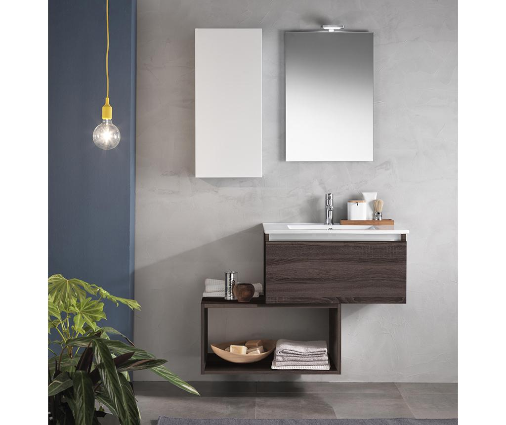 Set mobilier pentru baie 6 piese Perth - TFT Home Furniture, Alb,Maro imagine