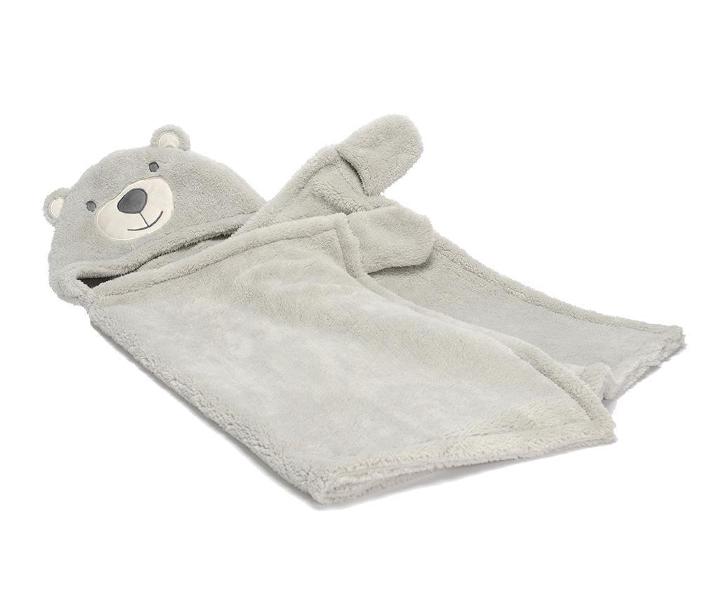 Patura cu gluga pentru copii Bear Grey 68x127 cm