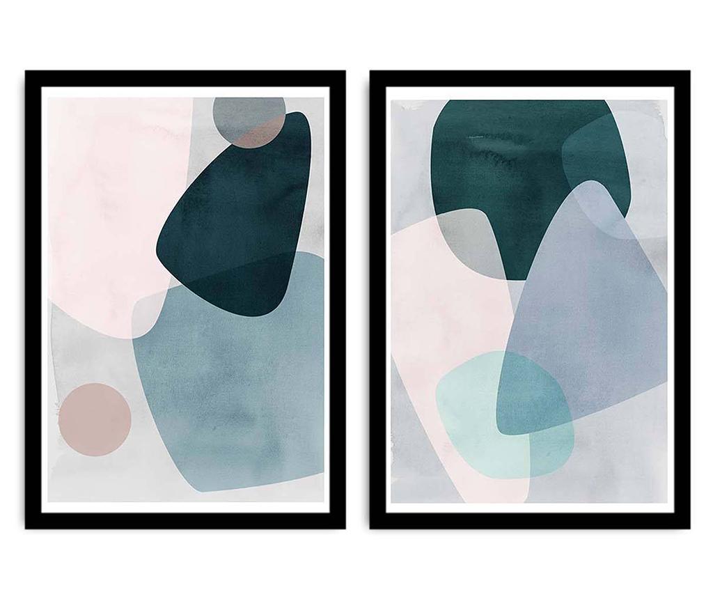 Set 2 tablouri Geometrical Overlaps 36x51 cm - Alpyros, Albastru imagine