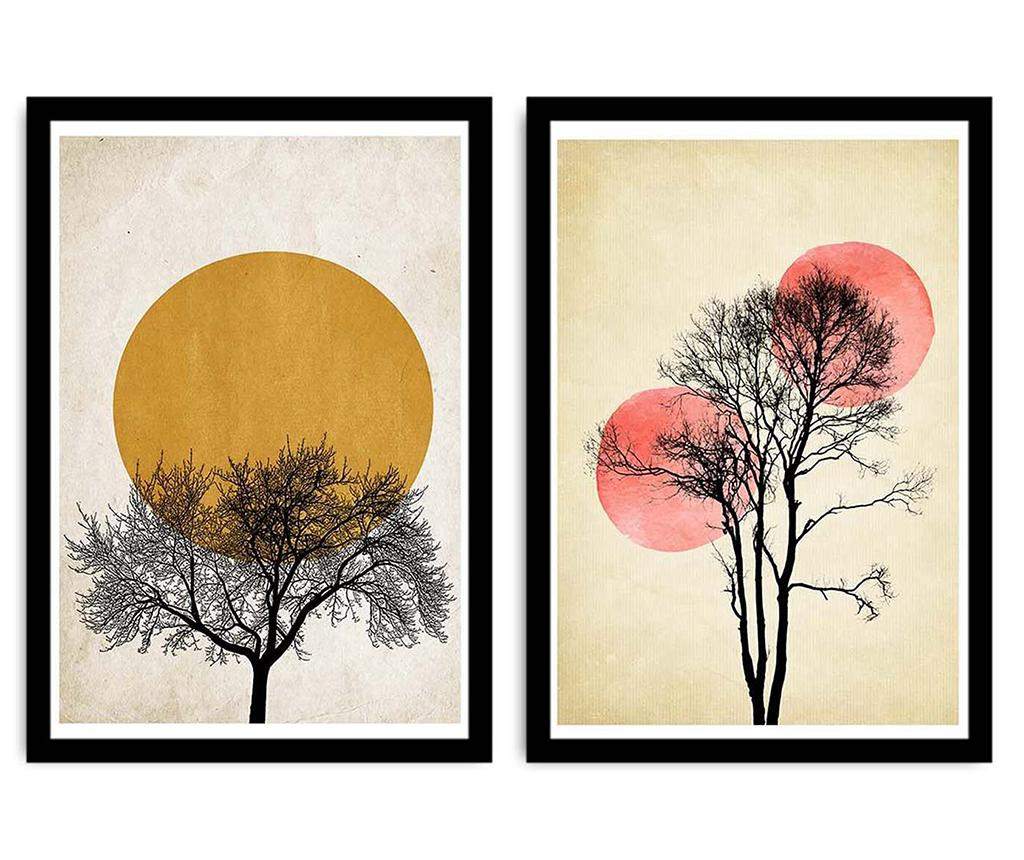Set 2 tablouri Trees Silhouettes With Sun 36x51 cm - Alpyros, Crem,Galben & Auriu imagine