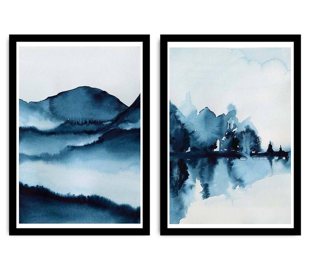 Set 2 tablouri Shadows In Nature 36x51 cm - Alpyros, Albastru imagine