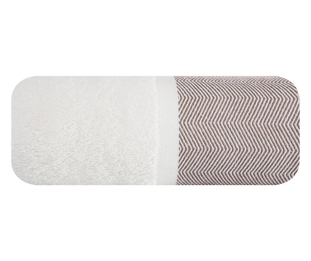 Prosop de baie Zigzag White Brown 70x140 cm imagine