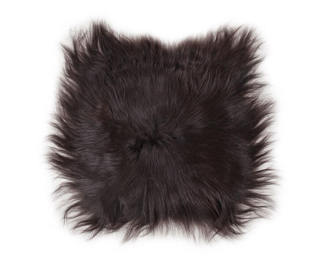 Perna de sezut Lambskin Natural Black 37x37 cm
