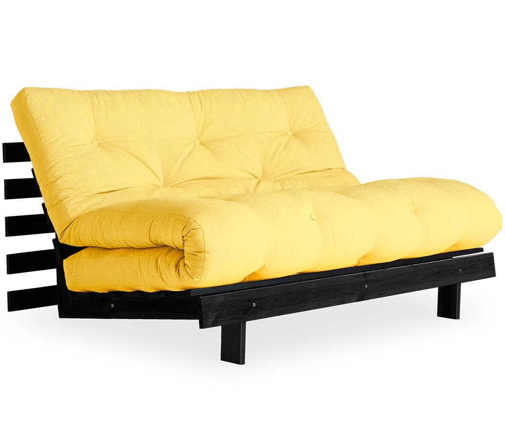 Sofa extensibila Roots Black & Yellow 140x200 cm vivre.ro