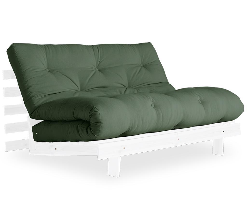 Sofa extensibila Roots White & Olive Green 140x200 cm - Karup Design, Verde imagine