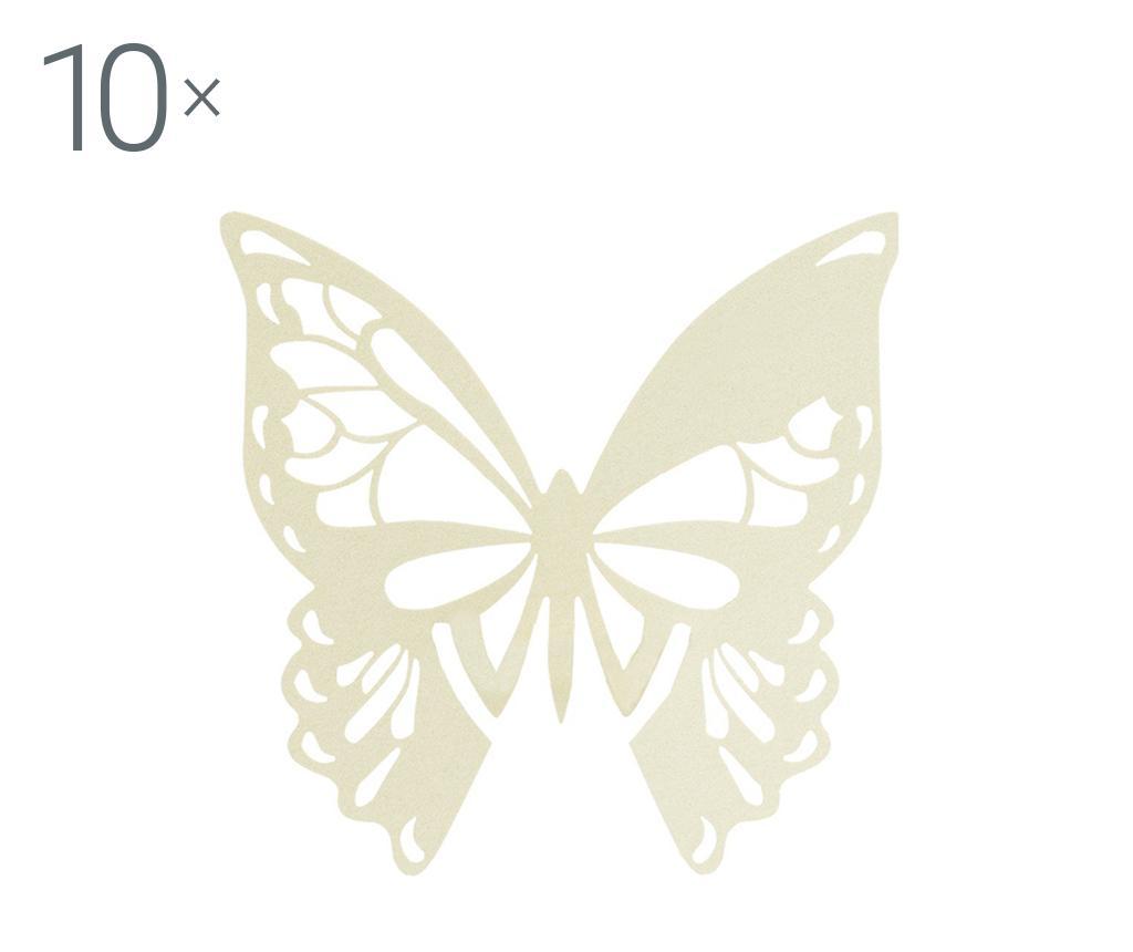 Set 10 marcatoare pentru pahare Butterfly Ivory