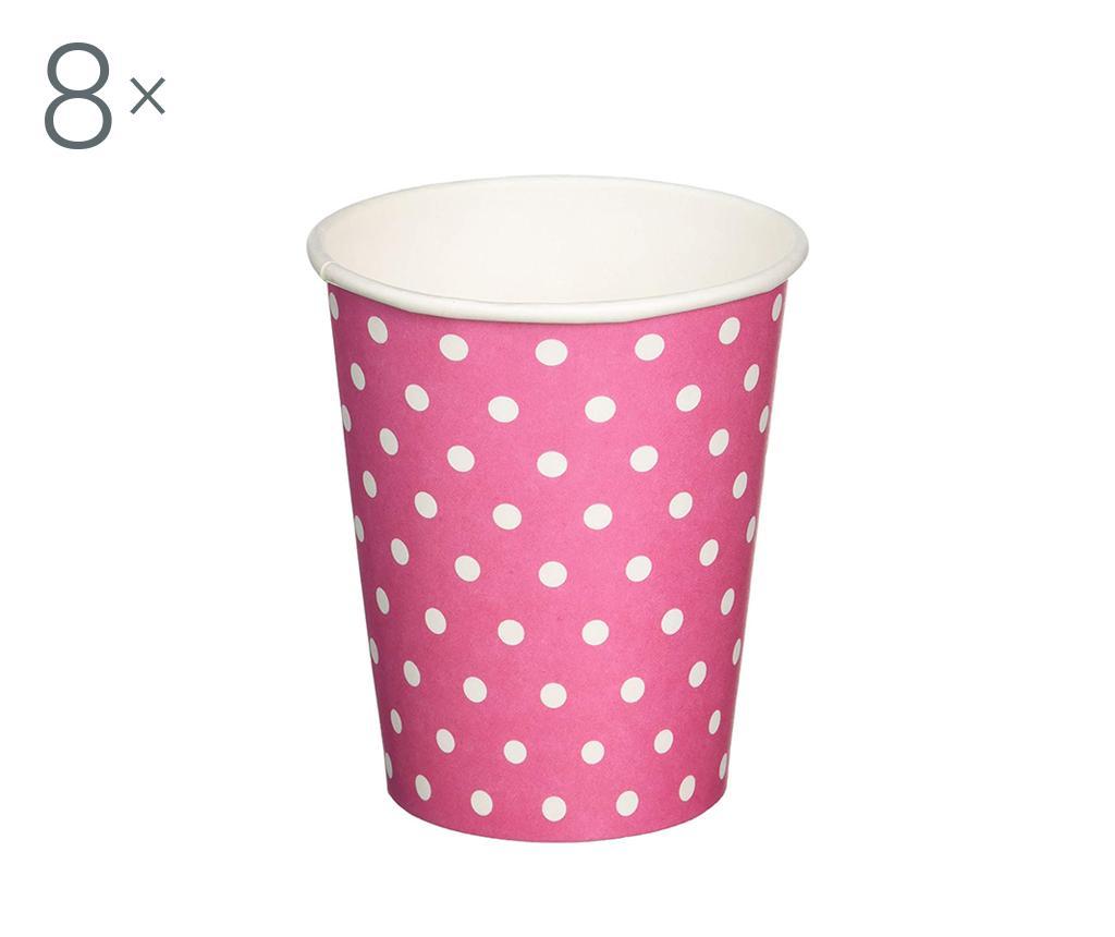 Set 8 pahare pentru unica folosinta Carnival Dots Pink