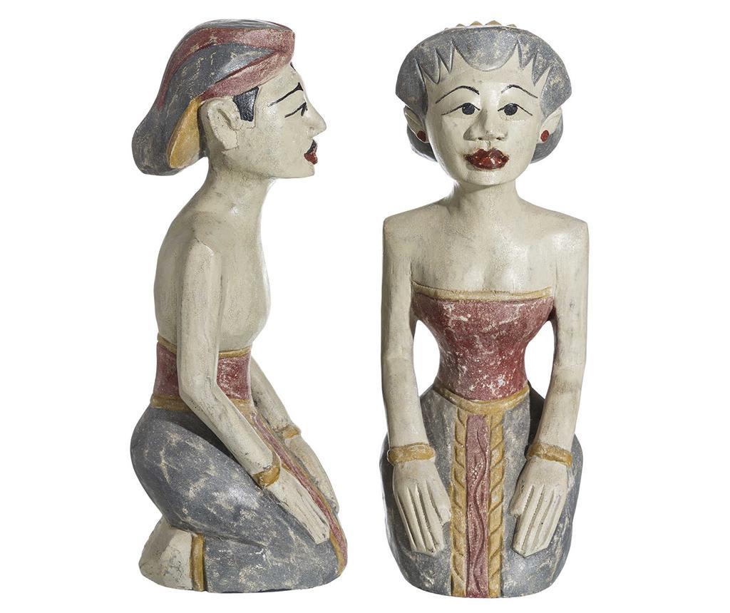 Set 2 decoratiuni Indian Couple - Denzzo, Crem imagine