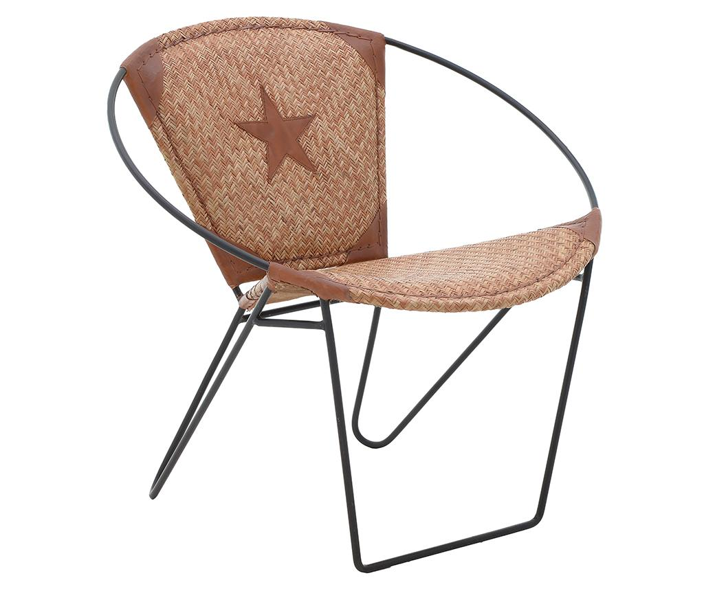 Scaun Circle Star Leather - inart, Crem,Negru