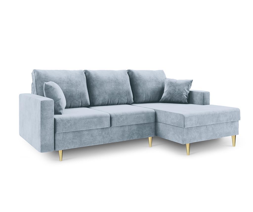 Coltar extensibil dreapta Muguet Light Blue - Mazzini Sofas, Albastru poza