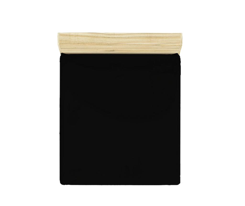 Cearsaf de pat cu elastic Ranforce Basic Black 160x200 cm - Patik, Negru imagine