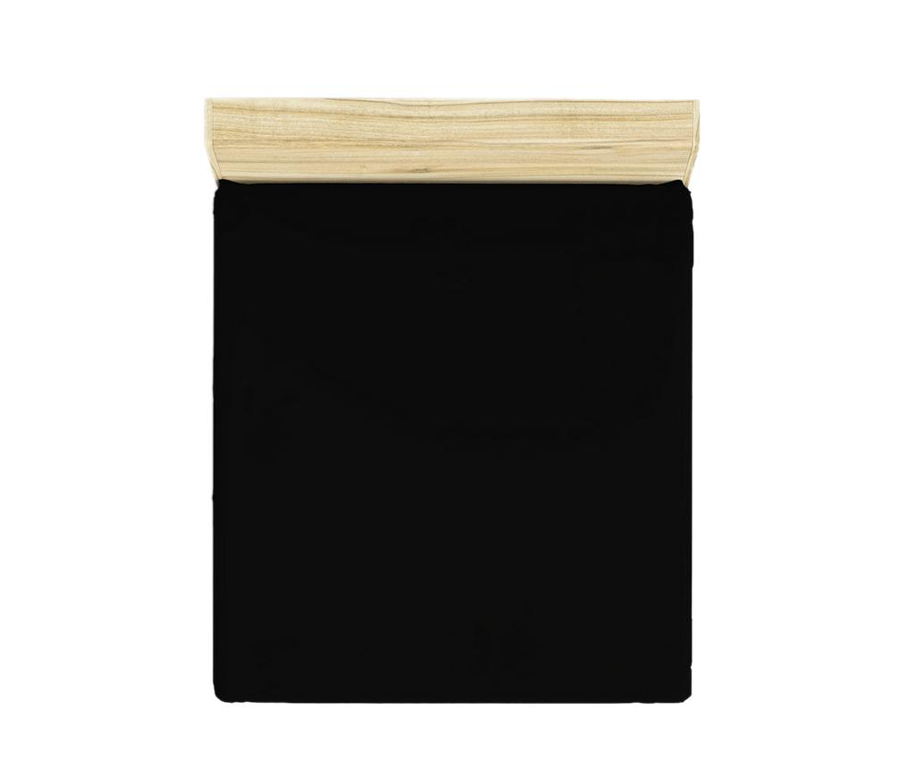 Cearsaf de pat cu elastic Ranforce Basic Black 180x200 cm - Patik, Negru imagine