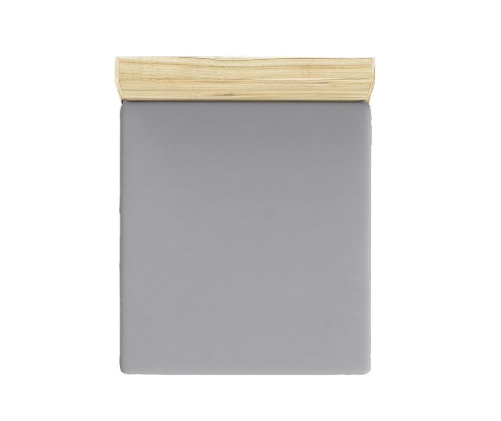Cearsaf de pat cu elastic Ranforce Basic Grey 180x200 cm - Patik, Gri & Argintiu