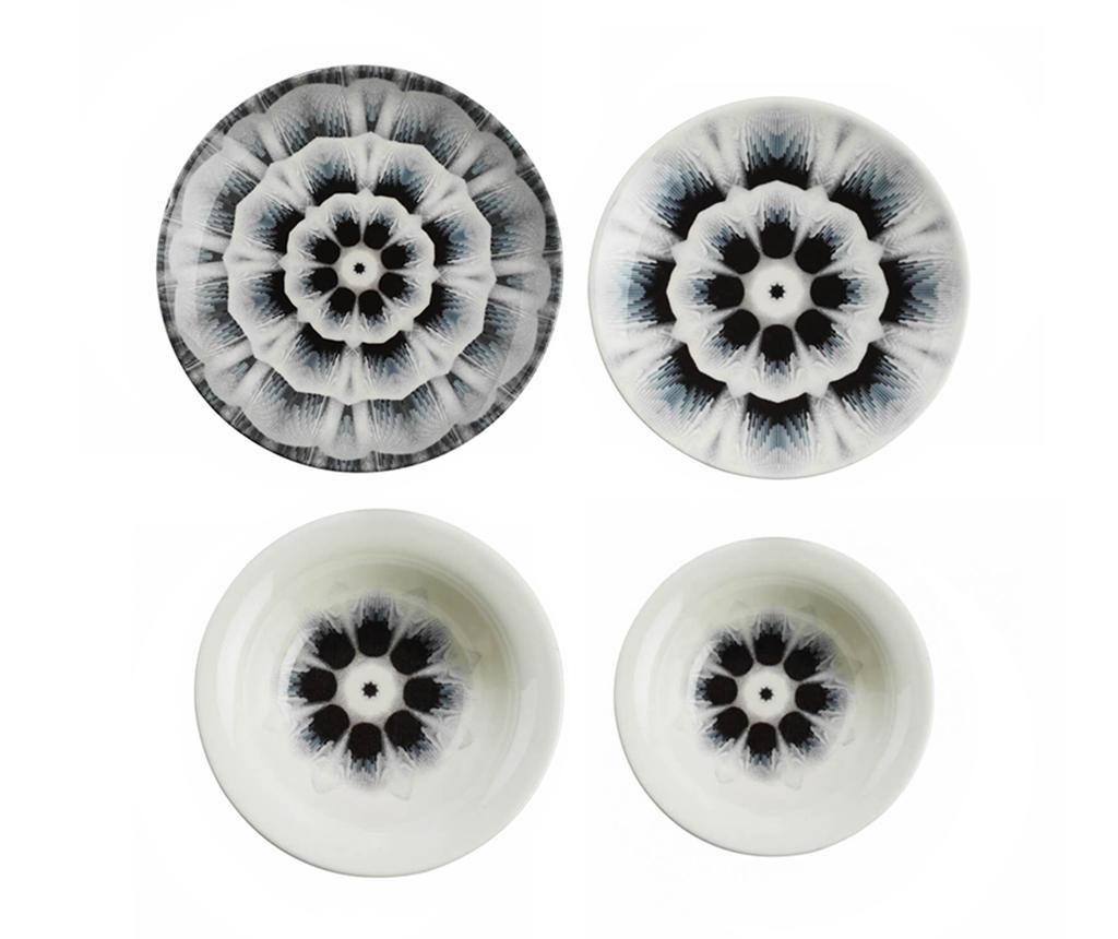 Set de masa 24 piese Nano Flower Mist - Kütahya Porselen, Gri & Argintiu imagine