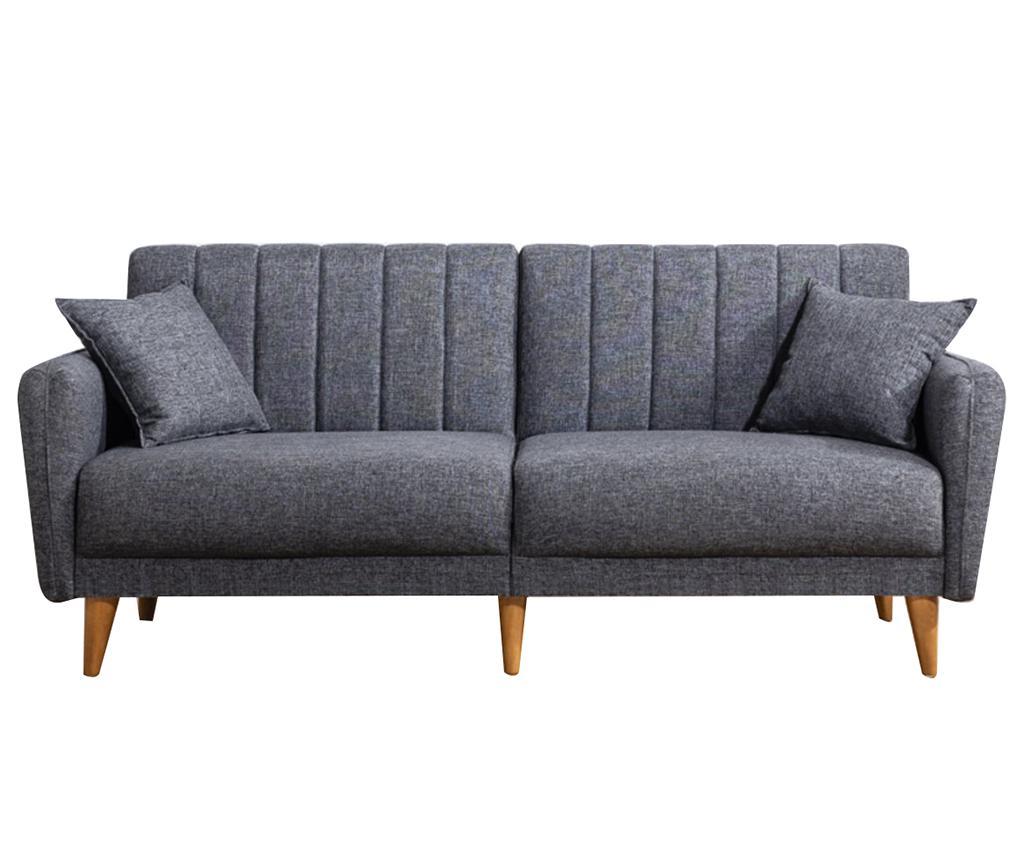 Canapea extensibila cu 3 locuri Tiffany Dark Grey - Unique Design, Gri & Argintiu imagine