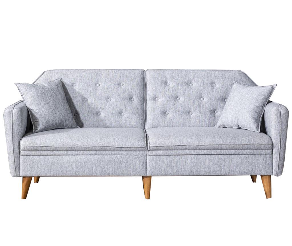 Canapea extensibila cu 3 locuri Susan Grey - Unique Design, Gri & Argintiu
