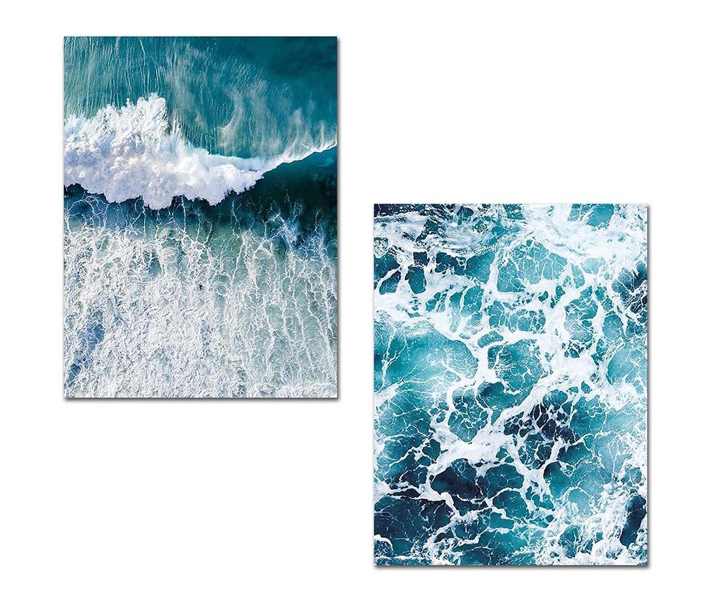 Set 2 tablouri Waves 30x40 cm - Onno, Multicolor imagine