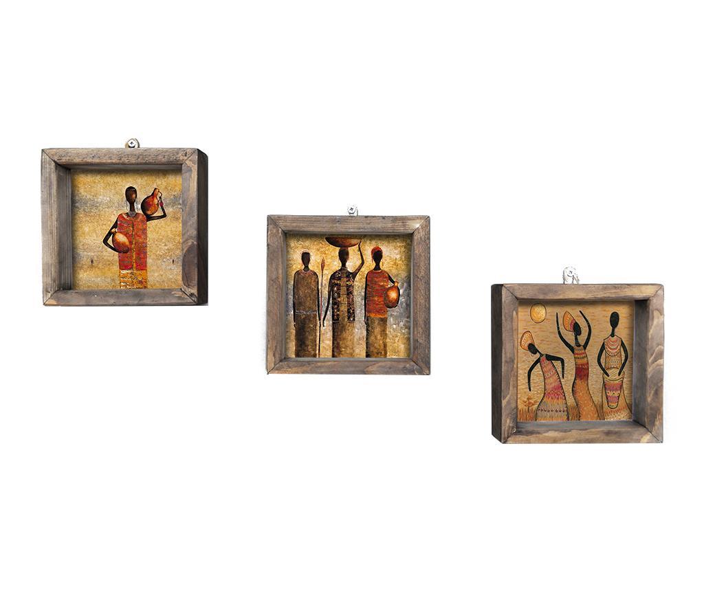 Set 3 tablouri Work 15x15 cm - Evila Originals, Multicolor imagine