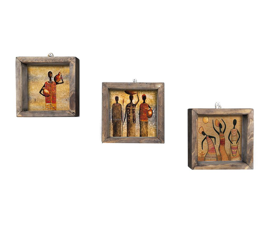 Set 3 tablouri Work 15x15 cm - Evila Originals, Multicolor