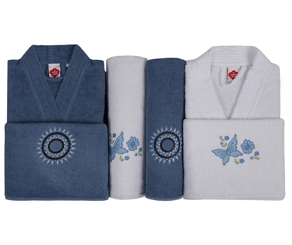 Set 4 prosoape si 2 halate de baie Nakisli Aile Blue White - Cotton Box, Alb,Albastru imagine
